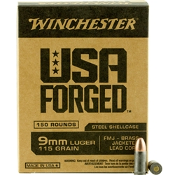 Winchester 115 gr. FMJ- Brass Jacketed Lead Core - WIN9SV