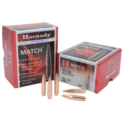 Hornady Bullets - Rifle 30 CAL .308 225 GR BTHP MATCH