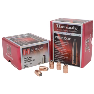 Hornady Bullets - Rifle 44 CAL .430 265 GR FP INTERLOCK 100/box